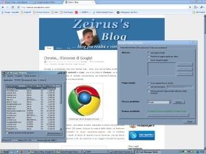 Google Chrome - Da notare il consumo di ram (neanche 25 MB con Gmail e Reader precaricati) e la finestra delle opzioni